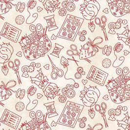 Piccole cose - Oggettini cucito rosso fondo bianco
