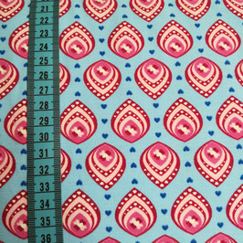 Jersey di cotone - Foglie fuxia base turchese