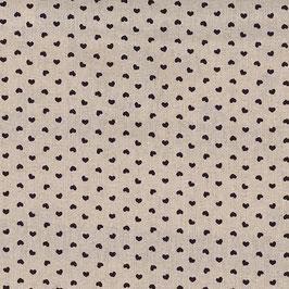 Misto lino shabby chic - lino con cuoricino nero stampato