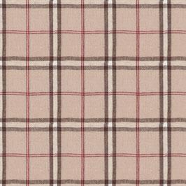 Misto lino shabby chic -scozzese marrone e rosso su base lino