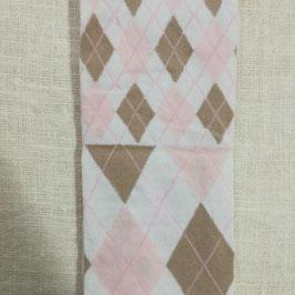 Tubolare maglina bianco stampa rombi rosa e tortora