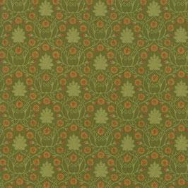 Fiorellini arancioni fondo verde