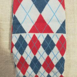Tubolare maglina bianco stampa  rombi blu e rossi