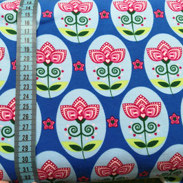 Jersey di cotone - Oblò con fiori fondo blu