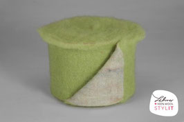 Fascia lana cardata doubleface - verde pastello/iridescente