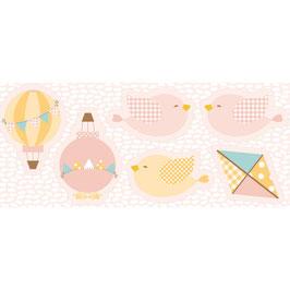 Baby - Pannello per cuscini Mongolfiere Uccellini Aquilone fondo rosa