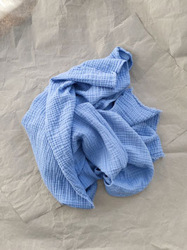 Tripple- Musselin Tuch blau