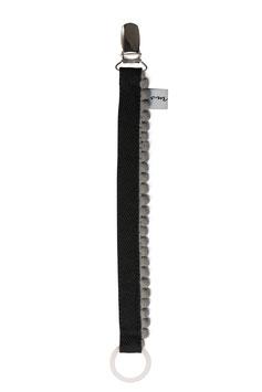 Schnullerband Pompom Black grau