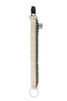 Schnullerband Pompom grau