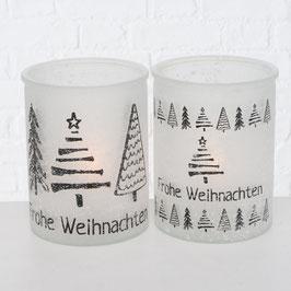 """Windlicht groß mit Bäumen """"Frohe Weihnachten"""" (2 Varianten)"""