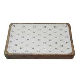 VAN DEURS Tablett weiß mit Muster