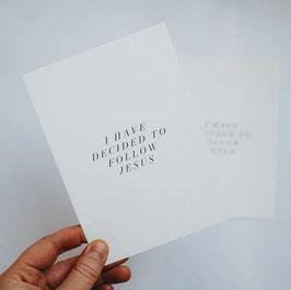 "Postkarte ""I have decided to follow JESUS"""