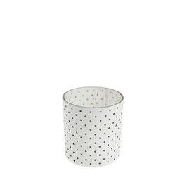 STOREFACTORY Teelichtglas weiß mit Pünktchen
