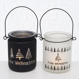"""Windlicht mit Henkel """"Frohe Weihnachten"""" (2 Varianten)"""