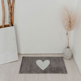 EULENSCHNITT waschbare Fußmatte grau mit 3 kleinen Herzen
