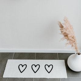 EULENSCHNITT waschbare Fußmatte creme-weiß mit 3 Herzen