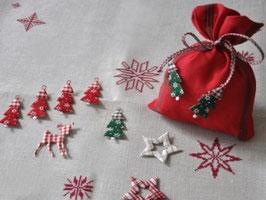 Leinensäckchen aus gewebten Schläuchen Weihnachts - Säckchen