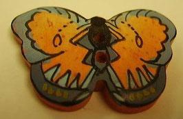 Knopf 2 Loch Schmetterling blau mit braun 28mm