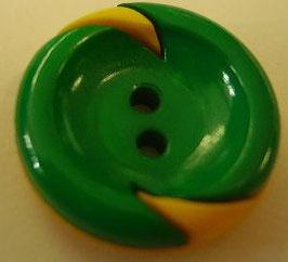 Kinderknopf grün gelbe Flammen eingelegt 18mm kkg2