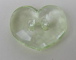 Knopf 2 Loch Herzform gelb-grün-transparent 20mm kg13