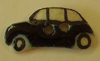 Kunststoff - Kinderknopf 2 Loch schwarz-weiß Auto 20mm