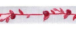 Schmuckwebband Beerenranke rot-weiß 1 cm breit Art.Nr.: 35034-03
