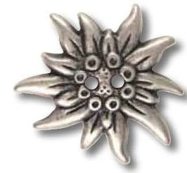 UK-Trachtenknöpfe 2 Loch Edelweiß 20mm 42509