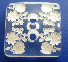 Knopf 2-Loch transparent mit Blumenmuster 19mm kwb42