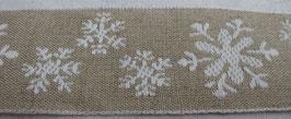Weihnachtsband Schneeflocken natur weiss  42mm