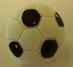 Kunststoff - Knopf mit Öse  schwarz-weiß Fußball  18mm