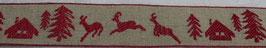 Weihnachtsband Steinbock natur rot 29mm