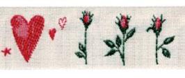 Schmuckwebband Rosen und Herzen 2 cm Art.Nr.: 35054