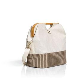 Prym Wollkorb + Reisetasche braun-beige-gestreift  612562