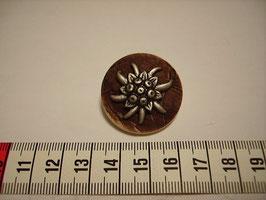 Trachtenknöpfe Kunststoff mit Öse braun mit Metall-Edelweiß 31mm