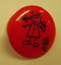 Mädchen rot Knopf mit Öse glänzend 18mm 221480