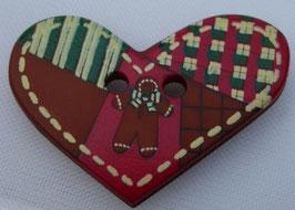 Dill Weihnachtsknopf 2Loch 25mm Herz mit Lebkuchenmann  280775