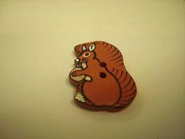 Kinder - Knopf braun 2 Loch  Eichhörnchen  22mm