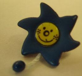 Kinderknopf mit Öse blau Sonne mit Schweif 20mm