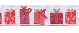 Weihnachtsband Schmuckwebband Weihnachtspäckchen rot-weiß 2 cm breit Art.Nr.: 35051-02