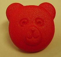 Bärenkopf Knopf mit Öse rot 18mm kkr1