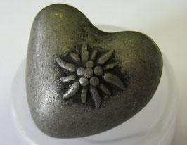 Trachtenknöpfe Metall mit Öse Herz mit Edelweiß 23mm  008