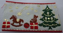 Weihnachtsband weiß, roter Rand, Tannenbaum, Schaukelpferd 60mm