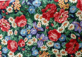 "Druckstoff,""Blüten"" amerik. BW, A Vip - print by Cranston print, 110cm breit"