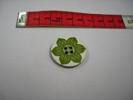 Porzellan Knopf grüne Blätter