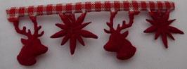 Weihnachtsband Hirsch + Stern rot weiß 25mm