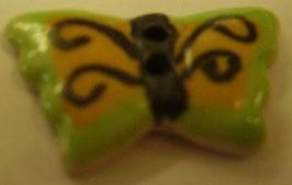 Kinderknopf 2 Loch grün Schmetterling 22mm kkg1
