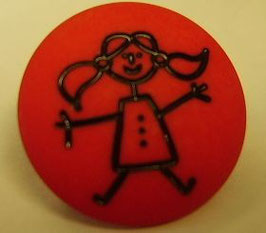 Mädchen rot Knopf mit Öse matt 18mm kkr8