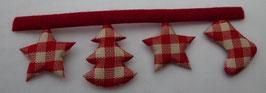Weihnachtsband Stiefel Stern Tannenbaum rot weiß 25mm