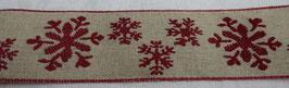 Weihnachtsband Schneeflocken natur rot   42mm