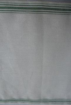 Stickband natur mit grünem Streifenrand 902-340